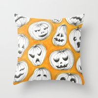 pumpkin Throw Pillows featuring Pumpkin by Saoirse Mc Dermott