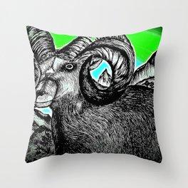 Rocky Mountain Ram - Enhanced Throw Pillow