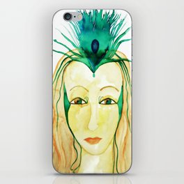 Goddess of Love and Womanhood with Peacock Feather iPhone Skin