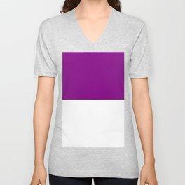 White and Purple Violet Horizontal Halves Unisex V-Neck