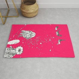 Two Tailed Duck and Jellyfish Bright Red Pink Rug