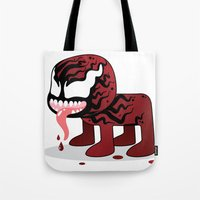 carnage Tote Bags featuring CARNAGE ROBOTIC by We Are Robotic