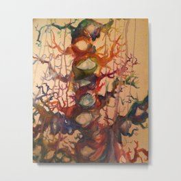 Crying Tree Watercolor Painting Metal Print