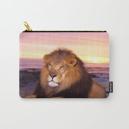 Phenomenal Noble Huge Male African Lion Relaxing On Beach At Sunset Close Up Ultra HD Carry-All Pouch