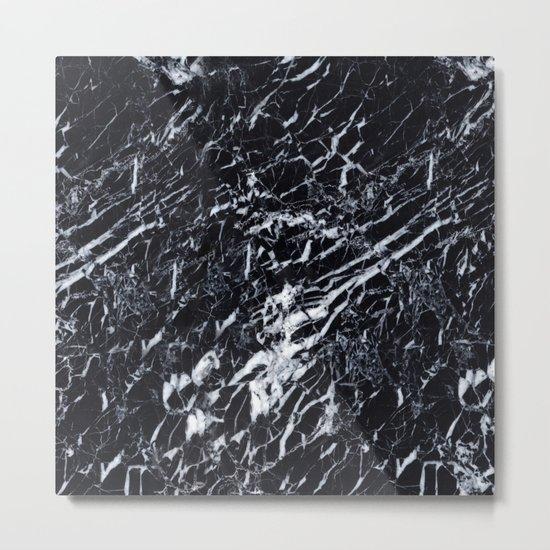 Real Marble Black Metal Print
