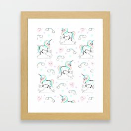 Standing tall Unicorn on cloud and heart pattern Framed Art Print