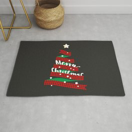 Merry Christmas Buffalo Checks Ribbon Tree Rug