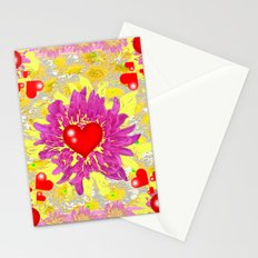Red Hearts Valentines & Pink Flowers Art Patterns Stationery Cards
