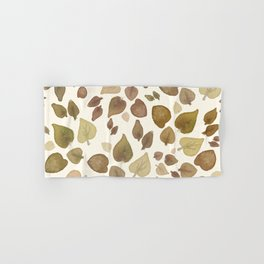 Abstract hand painted green brown watercolor fall leaves Hand & Bath Towel
