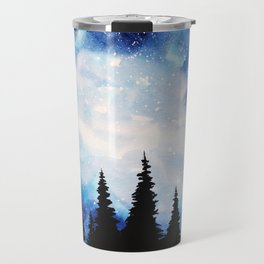 Watercolor Starry Galaxy Forest Painting Travel Mug