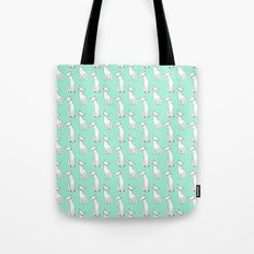 Mint and white retro cats Tote Bag