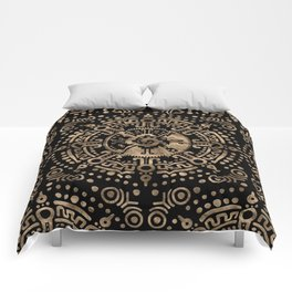 Hunab Ku Gold on black Comforters