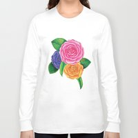 peonies Long Sleeve T-shirts featuring Peonies by Shian Tan