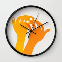 hands Wall Clocks featuring hands by alex eben meyer