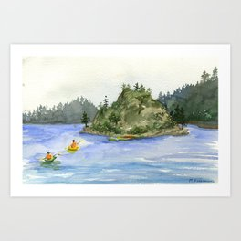 Lake Tahoe Fannette Island Kayakers Art Print