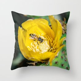 Wasp in Barbary fig flower Throw Pillow