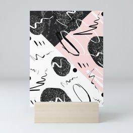 Gray Black Marble Blush White Abstract Glam #1 #trendy #decor #art #society6 Mini Art Print