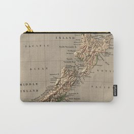 Vintage New Zealand Physical Map (1880) Carry-All Pouch