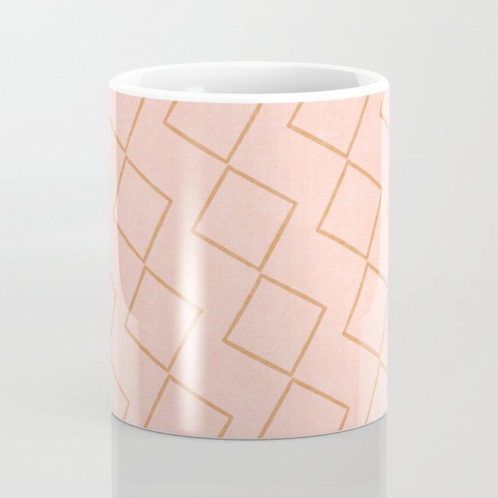 Tilting Diamonds in Peach Coffee Mug