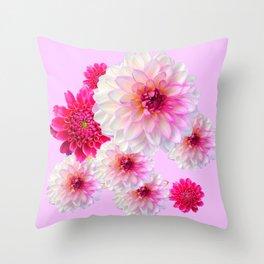 FUCHSIA CERISE-WHITE DAHLIA FLOWERS GARDEN ART Throw Pillow