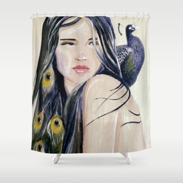 Shy Peacock Shower Curtain