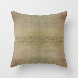Gold and Silver Leaf Bridget Riley Inspired Pattern Throw Pillow