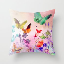 Blush Butterflies & Flowers Deko-Kissen