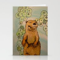 otter Stationery Cards featuring Otter by AlexandraDesCotes