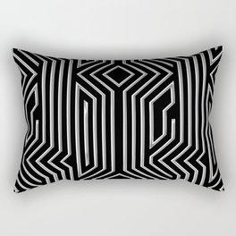 3-D Art Deco Silver Architectural Design Rectangular Pillow