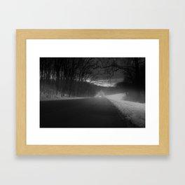 An Eerie Winter's Drive Through A Foggy Ault Park, Cincinnati OH Framed Art Print