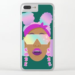 Top Puffs Girl #naturalhair #rainbowhair #shades #lipstick #blackunicorn #curlygirl Clear iPhone Case