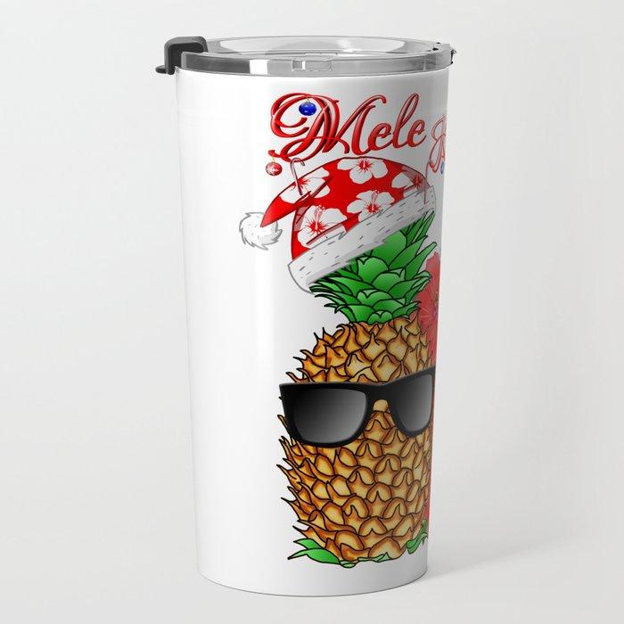Mele Kalikimaka Santa Pineapple Travel Mug