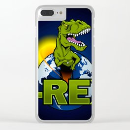 T Rex Dinosaur in the planet Clear iPhone Case