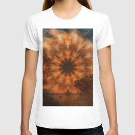 Surreal landscape in corrugated iron mandala T-shirt