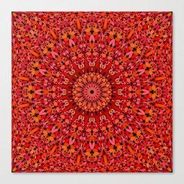 Red Geometric Bloom Mandala Canvas Print