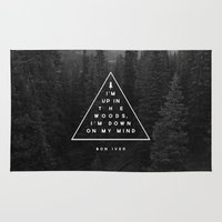 text Area & Throw Rugs featuring Woods -- Bon Iver by Zeke Tucker