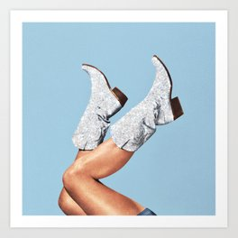 These Boots - Glitter Blue Art Print