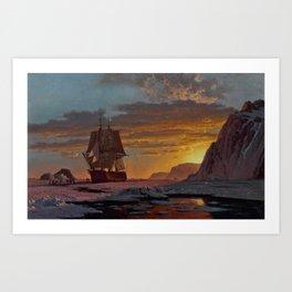 Midnight Sun, The Arctic by William Bradford - Hudson River School Vintage Painting Art Print