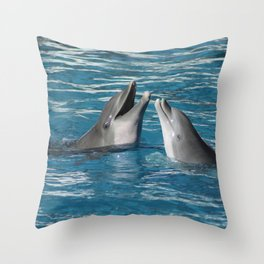 Couple of dolphins playing Throw Pillow