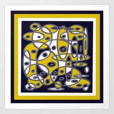 Yellow & Navy Abstract DPA150510 Art Print