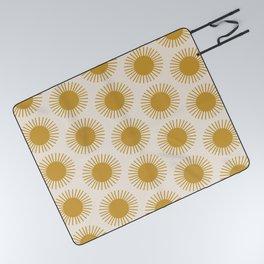 Golden Sun Pattern Picnic Blanket