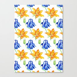 Columbine and Lily Hand Painted Floral Pattern Canvas Print