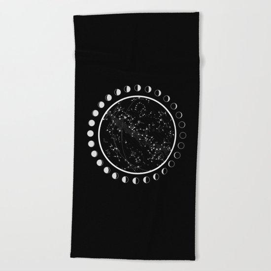 Vintage star map Beach Towel