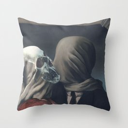 Kissing Death-The Lovers-Magritte Throw Pillow