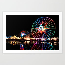 Paradise Pier at Night Art Print