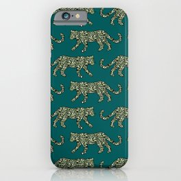Kitty Parade - Olive on Dark Teal iPhone Case