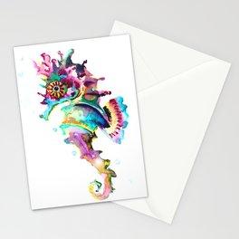 Seahorse , multi colored sea world animal art, design, cute animal art beach Stationery Cards