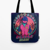 hotline miami Tote Bags featuring Deadly Miami by Donnie