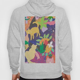 Cats and Plants with Abstract Background Hoody