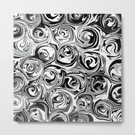 Onyx Black and White Paint Swirls Metal Print